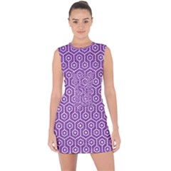HEXAGON1 WHITE MARBLE & PURPLE DENIM Lace Up Front Bodycon Dress