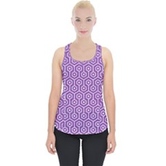 HEXAGON1 WHITE MARBLE & PURPLE DENIM Piece Up Tank Top