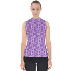 HEXAGON1 WHITE MARBLE & PURPLE DENIM Shell Top
