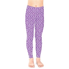 HEXAGON1 WHITE MARBLE & PURPLE DENIM Kids  Legging