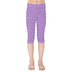 HEXAGON1 WHITE MARBLE & PURPLE DENIM Kids  Capri Leggings