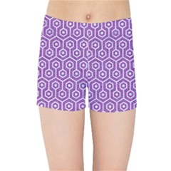 HEXAGON1 WHITE MARBLE & PURPLE DENIM Kids Sports Shorts
