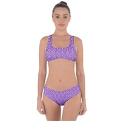 HEXAGON1 WHITE MARBLE & PURPLE DENIM Criss Cross Bikini Set