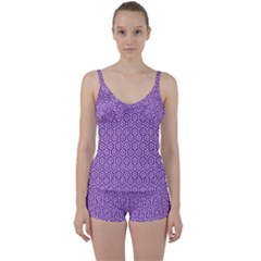 HEXAGON1 WHITE MARBLE & PURPLE DENIM Tie Front Two Piece Tankini