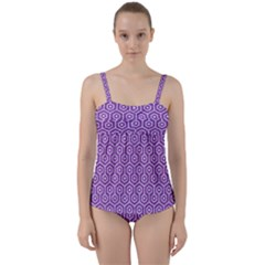 HEXAGON1 WHITE MARBLE & PURPLE DENIM Twist Front Tankini Set