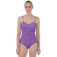 HEXAGON1 WHITE MARBLE & PURPLE DENIM Sweetheart Tankini Set