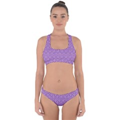 Hexagon1 White Marble & Purple Denim Cross Back Hipster Bikini Set