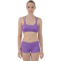 HEXAGON1 WHITE MARBLE & PURPLE DENIM Women s Sports Set