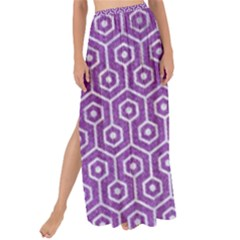 HEXAGON1 WHITE MARBLE & PURPLE DENIM Maxi Chiffon Tie-Up Sarong