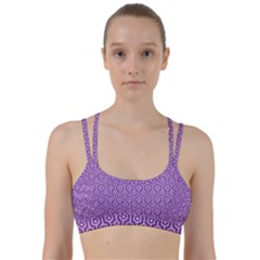 HEXAGON1 WHITE MARBLE & PURPLE DENIM Line Them Up Sports Bra