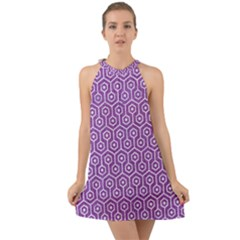 HEXAGON1 WHITE MARBLE & PURPLE DENIM Halter Tie Back Chiffon Dress