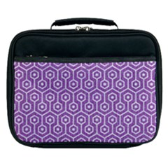 HEXAGON1 WHITE MARBLE & PURPLE DENIM Lunch Bag