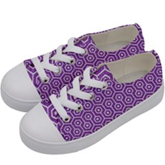 HEXAGON1 WHITE MARBLE & PURPLE DENIM Kids  Low Top Canvas Sneakers