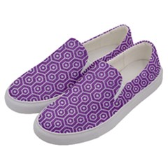 HEXAGON1 WHITE MARBLE & PURPLE DENIM Men s Canvas Slip Ons