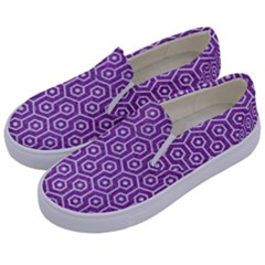 HEXAGON1 WHITE MARBLE & PURPLE DENIM Kids  Canvas Slip Ons
