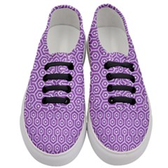Hexagon1 White Marble & Purple Denim Women s Classic Low Top Sneakers