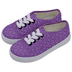HEXAGON1 WHITE MARBLE & PURPLE DENIM Kids  Classic Low Top Sneakers