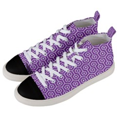 HEXAGON1 WHITE MARBLE & PURPLE DENIM Men s Mid-Top Canvas Sneakers