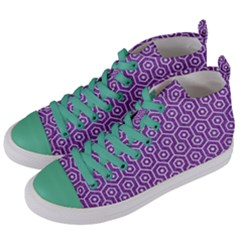 HEXAGON1 WHITE MARBLE & PURPLE DENIM Women s Mid-Top Canvas Sneakers