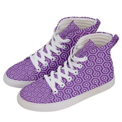 HEXAGON1 WHITE MARBLE & PURPLE DENIM Women s Hi-Top Skate Sneakers