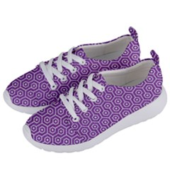 HEXAGON1 WHITE MARBLE & PURPLE DENIM Women s Lightweight Sports Shoes