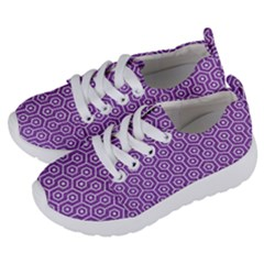 HEXAGON1 WHITE MARBLE & PURPLE DENIM Kids  Lightweight Sports Shoes
