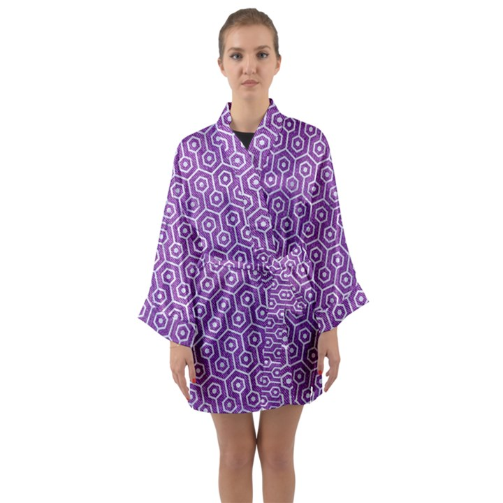 HEXAGON1 WHITE MARBLE & PURPLE DENIM Long Sleeve Kimono Robe