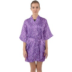 HEXAGON1 WHITE MARBLE & PURPLE DENIM Quarter Sleeve Kimono Robe