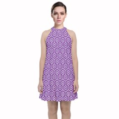 HEXAGON1 WHITE MARBLE & PURPLE DENIM Velvet Halter Neckline Dress