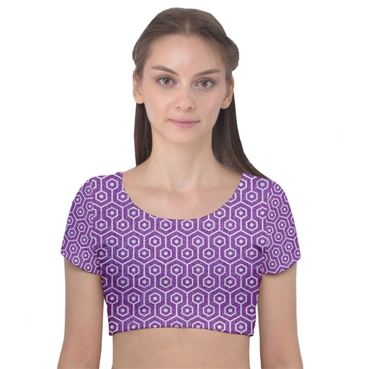 HEXAGON1 WHITE MARBLE & PURPLE DENIM Velvet Short Sleeve Crop Top