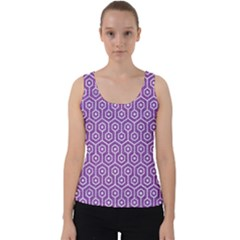 HEXAGON1 WHITE MARBLE & PURPLE DENIM Velvet Tank Top