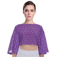 HEXAGON1 WHITE MARBLE & PURPLE DENIM Tie Back Butterfly Sleeve Chiffon Top