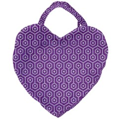 HEXAGON1 WHITE MARBLE & PURPLE DENIM Giant Heart Shaped Tote