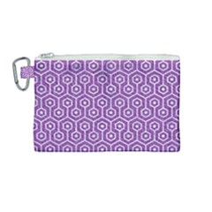 HEXAGON1 WHITE MARBLE & PURPLE DENIM Canvas Cosmetic Bag (Medium)