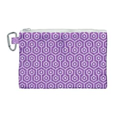 HEXAGON1 WHITE MARBLE & PURPLE DENIM Canvas Cosmetic Bag (Large)