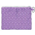 HEXAGON1 WHITE MARBLE & PURPLE DENIM Canvas Cosmetic Bag (XXL) View2