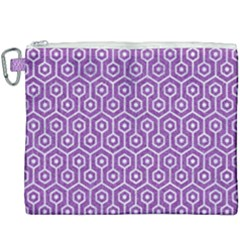 HEXAGON1 WHITE MARBLE & PURPLE DENIM Canvas Cosmetic Bag (XXXL)