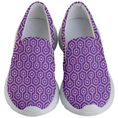 HEXAGON1 WHITE MARBLE & PURPLE DENIM Kid s Lightweight Slip Ons