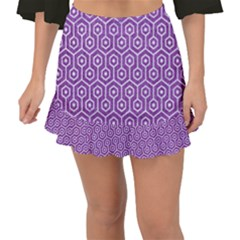 HEXAGON1 WHITE MARBLE & PURPLE DENIM Fishtail Mini Chiffon Skirt
