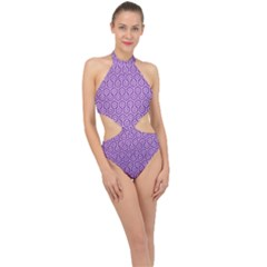 HEXAGON1 WHITE MARBLE & PURPLE DENIM Halter Side Cut Swimsuit