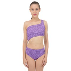 HEXAGON1 WHITE MARBLE & PURPLE DENIM Spliced Up Swimsuit