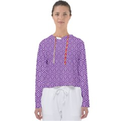 HEXAGON1 WHITE MARBLE & PURPLE DENIM Women s Slouchy Sweat
