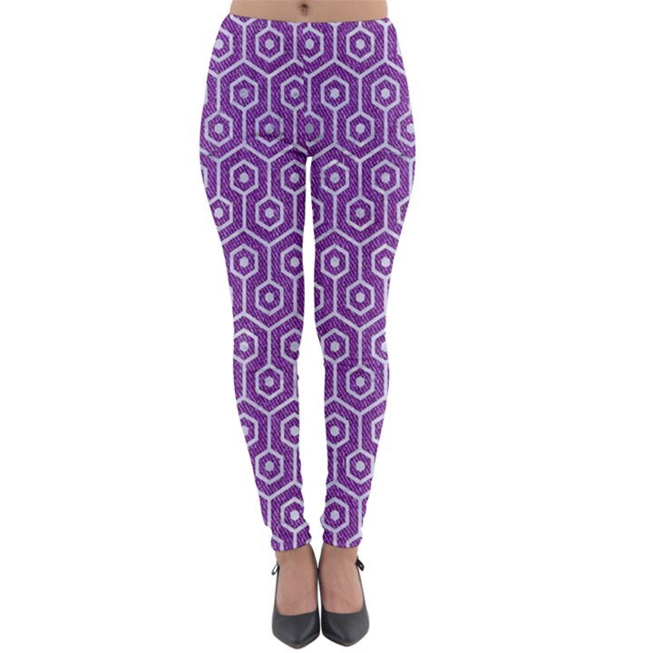 HEXAGON1 WHITE MARBLE & PURPLE DENIM Lightweight Velour Leggings