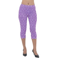 HEXAGON1 WHITE MARBLE & PURPLE DENIM Lightweight Velour Capri Leggings