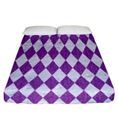 Diamond1 White Marble & Purple Denim Fitted Sheet (california King Size) by trendistuff
