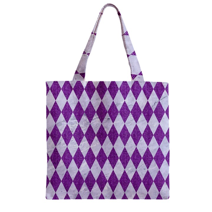 DIAMOND1 WHITE MARBLE & PURPLE DENIM Zipper Grocery Tote Bag