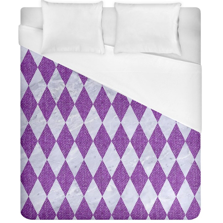 DIAMOND1 WHITE MARBLE & PURPLE DENIM Duvet Cover (California King Size)