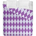 DIAMOND1 WHITE MARBLE & PURPLE DENIM Duvet Cover Double Side (California King Size) View1