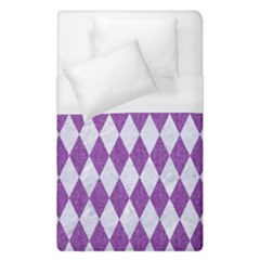 Diamond1 White Marble & Purple Denim Duvet Cover (single Size)