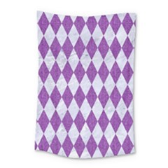 Diamond1 White Marble & Purple Denim Small Tapestry